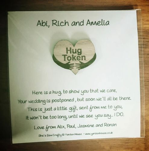 Wedding Postponed Hug Token - DELIVERED DIRECT TO ANY UK ADDRESS (Price includes  P+P)
